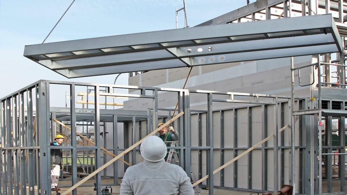 Bauprozess mit Stahlrahmen TodaySystems